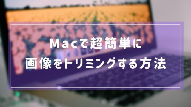 【超簡単】Macのデフォルト機能を使って画像をトリミングする方法